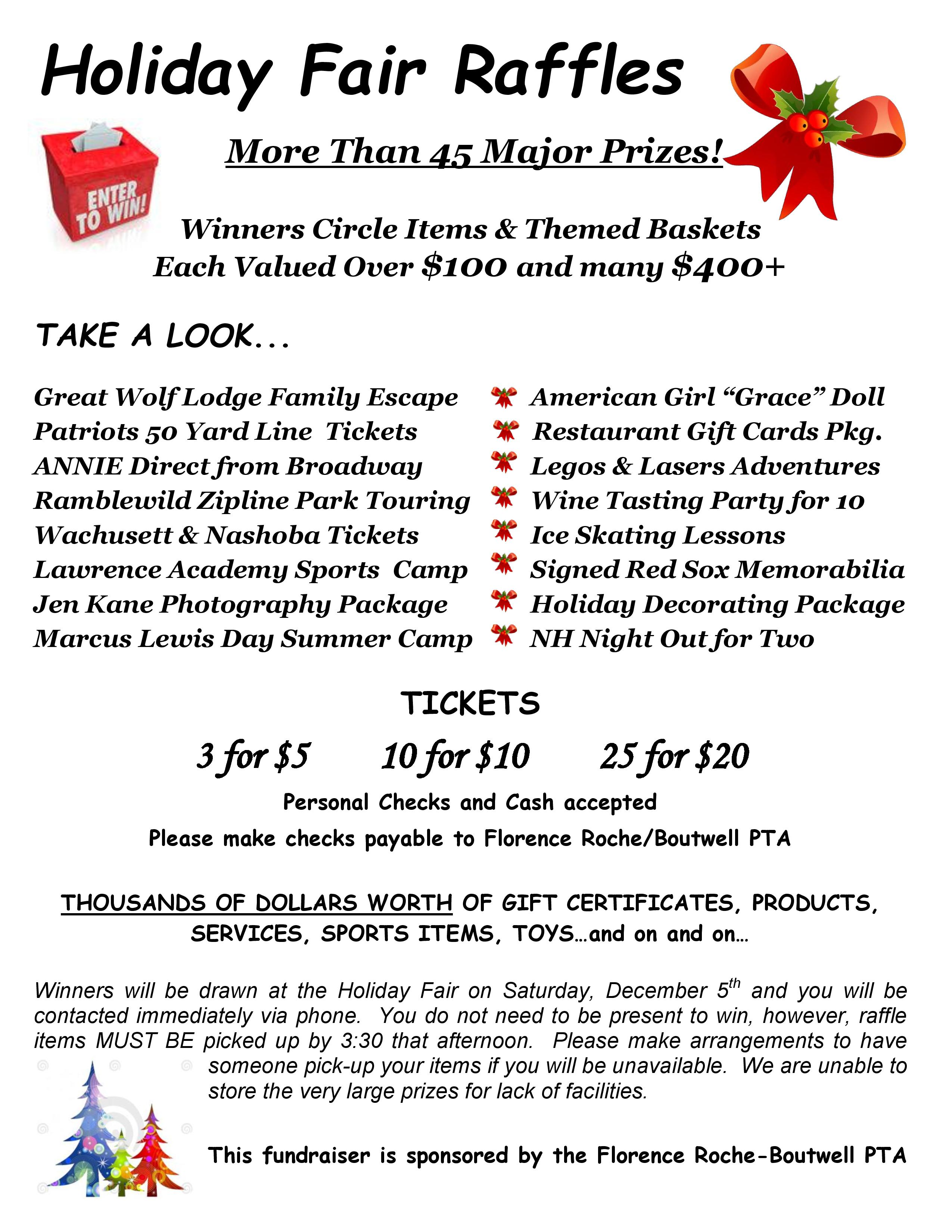 Holiday Fair Basket Raffle Sales » Florence Roche-Boutwell PTA